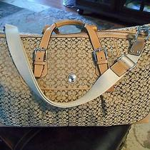 Used Coach Luggage 23x11 Voyage 498.signature Cabin Beige Totes Shoppers F77115 Photo