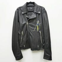Used Diesel Lamb Leather Jacket Size Xxl Color Black Import F094 Photo