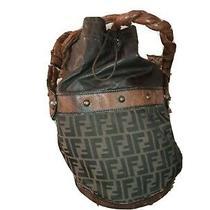 Used Fendi Zucca Handbag Bucket Drawstring Shoulder Bag Canvas Brwn Photo