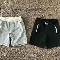 Used Gap Boys Lot of 2 Jersey Cotton Plush Shorts Gray Black Zip Pockets Sz 5 Photo