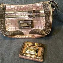 Used Guess Shoulder Bag Purse Pink & Tan Alligator Skin Style Matching Wallet Photo