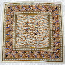 Used Hermes Scarf Large Yellow System Silk 100 Hunting in India Chasse en Inde Photo