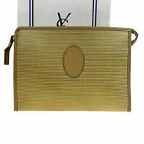 Used in Yves Saint Laurent Clutch Bag Beige Pvc Leather 01mc813 Photo