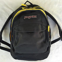 Used Jansport Backpack Black Yellow School College Bag Sack Homework Photo