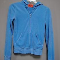 Used Juicy Couture Aqua Blue Terry Cloth Zip Up Hoodie Jacket Spring Size S Miss Photo