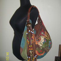 Used Lucky Brand Floral Patchwork Suede Leather Hobo Shoulder Bag W/bonus Photo