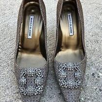 Used Manolo Blahnik Gold Metallic Bronze Heels Size 39 1/2 Photo