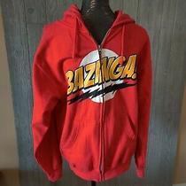 Used Men's Big Bang Theory Red Zip Up Hooded Sweatshirt Bazinga Logo Sz M Photo