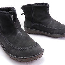 Used Mens 8.5 Sorel Bota Bag Black Leather Moc Toe Insulated Slip on Ankle Boots Photo