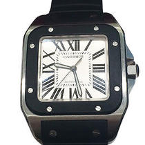 Used Pre-Owned Cartier Black/silver/white Stainless Steel/rubber Santo 100 Watch Photo