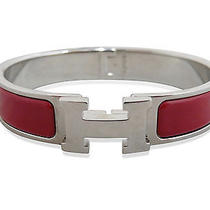Used Pre-Owned Hermes Silver/ Red Ceramics/ Stainless Steel Clic Clac H Bangle Photo