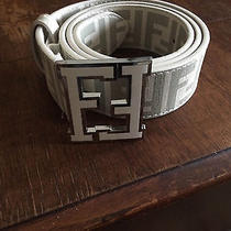 Used White Fendi College Zucca Belt Size 46/115 Photo