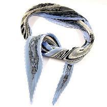 Used With Box Hermes Silk 100 Pleats Scarf lt.blue Blue Boyfriend Sun no.539 Photo