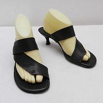 Used Women 8 M Donald J Pliner Black Leather Slide Thong Sandals W 2.5