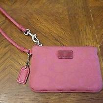 Used Women's Hot Pink C Design Cloth Cotton Coach Corner Zip Wristlet Signature  Photo