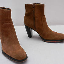 Used Womens 6 M via Spiga Brown Suede Side Zip High Heel Ankle Boots  Photo