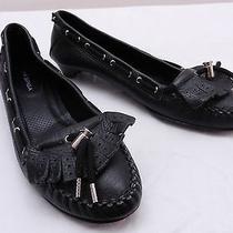 Used Womens 7.5 via Spiga Black Kiltie Fringe Cinch Kitten Heel Moccasin Loafers Photo