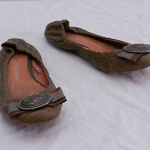 Used Womens 7 Jeffrey Campbell Green Brown Metal Shield Button Toe Ballet Flats Photo