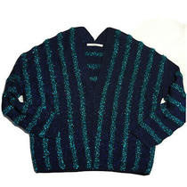 Uterque Sz S Luxury Zara Sister Sweater Navy Blue Sparkle Lurex Longsleeve Strip Photo