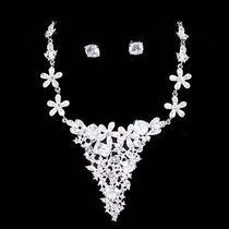 V-Neck Bridal Necklace Set Sign Snk Hollywood Made W/ Swarovski Crystal Photo
