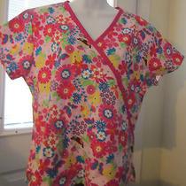 V Neck Scrub Top  2 Pckt. Short Slve. Size S  by Dickies Flower Girl Design Photo