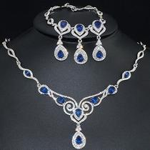 V310 Clear Swarovski Crystal Blue Cz 18k Wgp Earrings Bracelet Necklace Set Photo