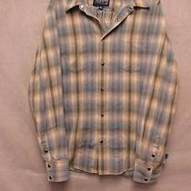 V4799 Hurley Int Beige/blue Plaid Long Sleeve Pearl Snap Shirt Junior Boys L Photo