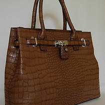 (V63) New Gorgeous Brown Croc Bag Handbag Purse Tote  Photo