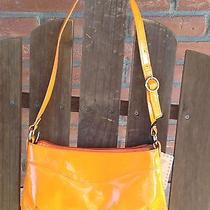 Valentina Italian Orange Patent Leather Nwt Small Shoulder Bag Hobo Purse New Photo