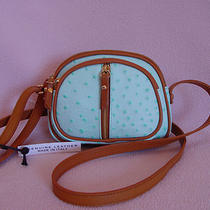Valentina Ostrich Embossed Leather Small Cross Body Bag Aqua Italy New  Photo