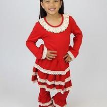 Valentine Tutu Lulu Ruffle Lace Red Ecru Top Pants Outfit Boutique 7 8 Nwt Girl Photo