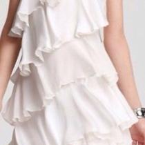Valentino 2618 Dress Kleid  Xs It 38 Us 0 2 Uk 6 Italy Ruffles White Baby Doll  Photo