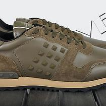 Valentino Auth New Khaki Rockstud Leather & Suede Trainers Sneakers Sz 43 10 Photo