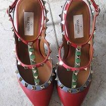 Valentino Auth Rockstud Red Blue Pink Green Smooth Leather T Straps 4
