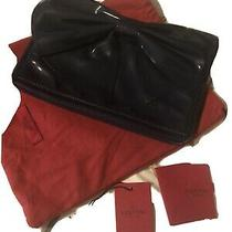 Valentino Authentic Black Patent Leather Bow Envelope Clutch Bag Photo