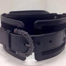 Valentino Belt Blk Suede Stones and Metal Screwed Hinges 5 Parts S/m Photo
