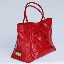 Valentino Betty Bow Lacca Red Lacquered Canvas Tote Photo