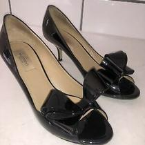 Valentino Black Patent Bow Kitten Heels Size 38 1/2 Photo