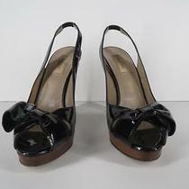 Valentino Black Patent Heels Sz 9.5 39.5 Leather Bow Platform Peep Toe Slingback Photo