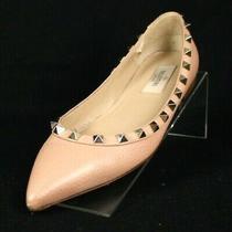 Valentino Blush Beige Pebbled Leather Rockstud Pointed-Toe Flats 36 Photo