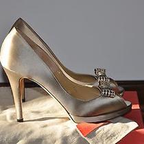 Valentino Crystal Bow Sand Satin Peeptoe Pumps 8 1/2 Wedding Shoes 745 Photo