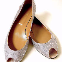 Valentino Crystal-Studded Pink/silver Peep-Toe Ballet Flats 41.5 Photo