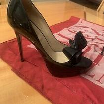 Valentino Garavani Black Patent Leather Bow Platform Pump Heels Shoes Size 38 Photo
