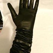 Valentino Garavani Black Stretch Long Leather Gloves With Bows Size 7 595 Photo