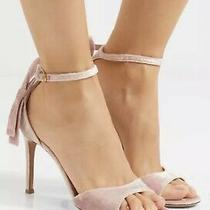 Valentino Garavani Bow-Heel Crushed-Velvet Ankle-Strap Sandals Blush Sz 7.5 795 Photo