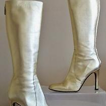 Valentino Garavani Gold All Leather Cleopatra Knee High 4''heel Boots Italy S-39 Photo