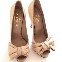 Valentino Garavani New Crocodile Pink Peep Toe Platform Bow Heels 37 Nude Blush  Photo