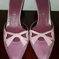 Valentino Garavani Purple Pink Suede Pointed Toe Slip on Heel Pump Size 37 /7 Us Photo