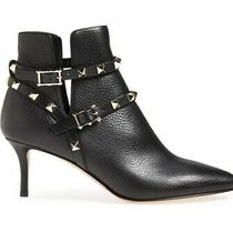 Valentino Garavani Rockstud Ankle Booties  Black Leather Boots Size 39.5 Photo