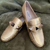 Valentino Garavani Rockstud Metallic Leather Loafer Deep Gold Sz 6(36) New Photo